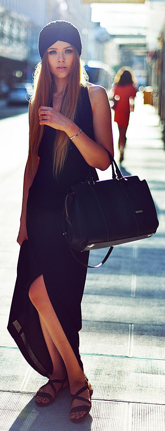-Street Chic - Black Split Maxi Dress by Kayture.<3