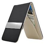 Zodaca Black/Gray Mens Faux Genuine Leather Silver Money Clip Wallets ID