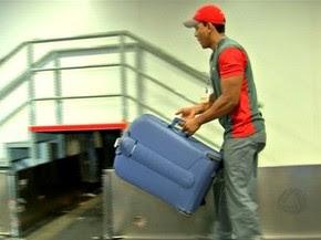 Esteira do check-in do Marechal Rondon está inoperante. (Foto: Reprodução / TVCA)