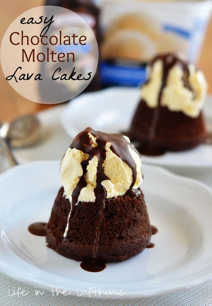 Easy Chocolate Molten Lava Cake--It's a small chocolate cake with a warm center of hot fudge, topped with a big scoop of vanilla ice cream and then drenched in chocolate magic shell.  It is amazing!!