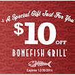 Bonefish Grill $10 Off Holiday Coupons