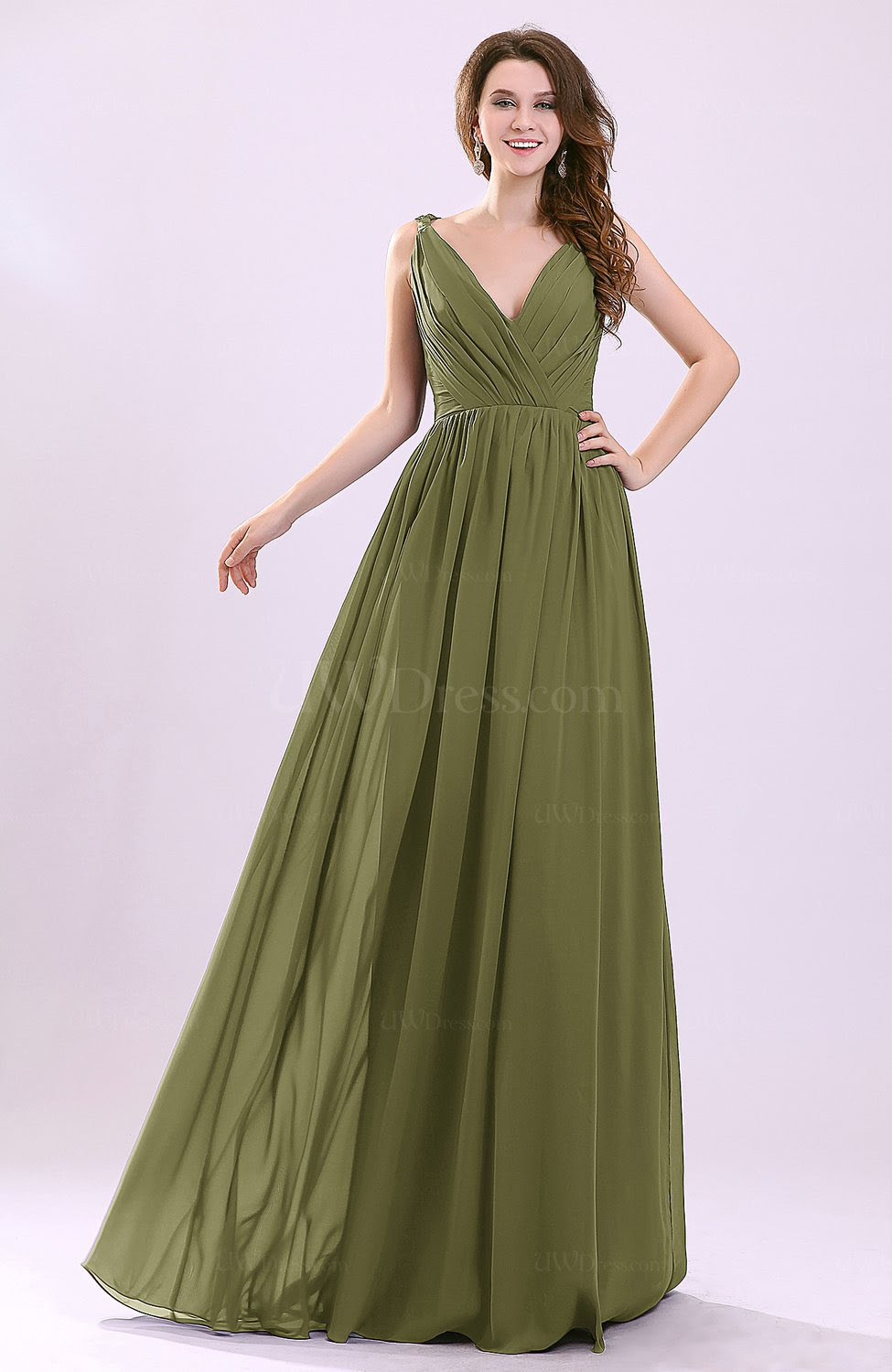 olive green modern aline sleeveless zipper chiffon
