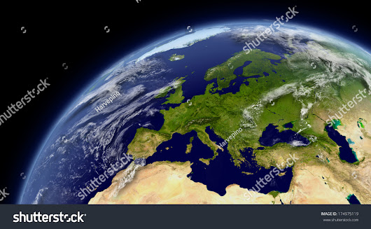 Europe Viewed From Space With Atmosphere And Clouds. Elements Of This Image Furnished By Nasa. Stock Photo 174975119 : Shutterstock