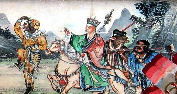 Sun Wukong, Xuanzang, Zhu Wuneng et Sha Wujing, les personnages de Xi You Ji, La pérégrination vers l'Ouest (ou Le voyage en occident), un des quatre romans classiques (« les Quatre livres extraordinaires ») de la Chine, qui date de la fin du XVIe siècle.