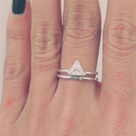 Trillion Diamond Ring Set, Thin Diamond Band, Simple
