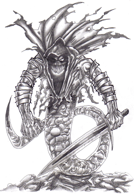 Fantasy Serpent Creature Drawing