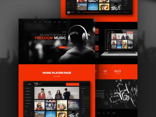 Free Music Player App Website Template Free PSD at FreePSD.cc