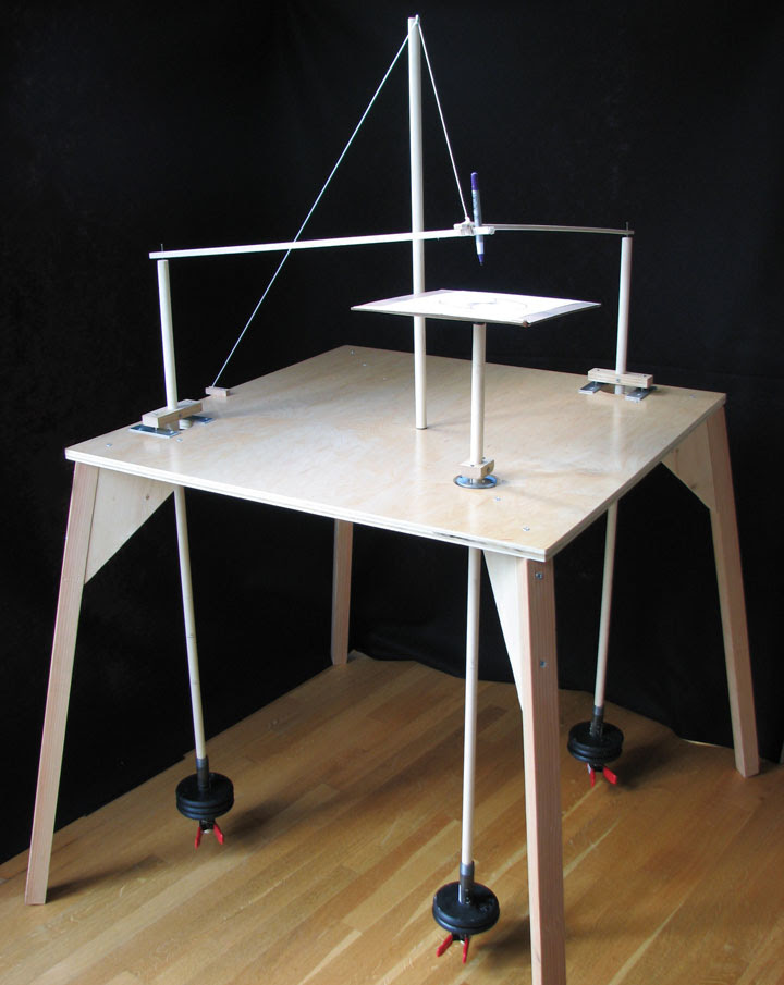a three-pendulum rotary harmonograph