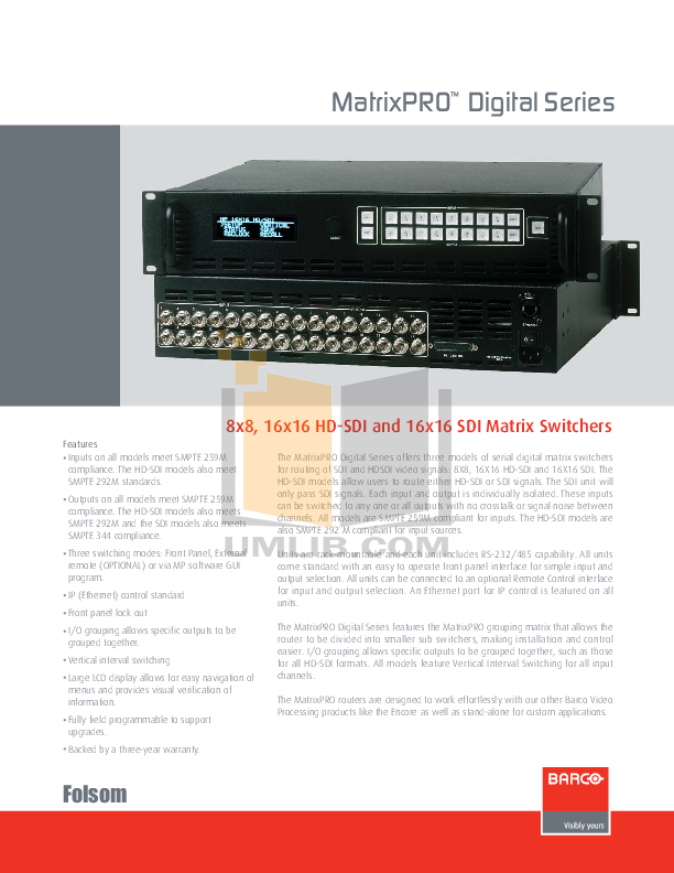 Download Free Pdf For Barco Matrix Pro Hd Sdi Switchers Other Manual