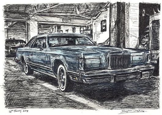 1977-79 Lincoln Continental Mark V - Original drawings, prints and limited editions by Stephen Wiltshire MBE