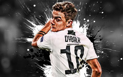 Download wallpapers Paulo Dybala, Juventus FC, Argentinian footballer, striker, 10th number, white uniform, Juve, portrait, Serie A, Italy, football, Dybala besthqwallpapers.com