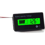 HLYCare Waterproof LCD Battery Capacity Monitor Gauge GREEN Backlight by Adesso Power