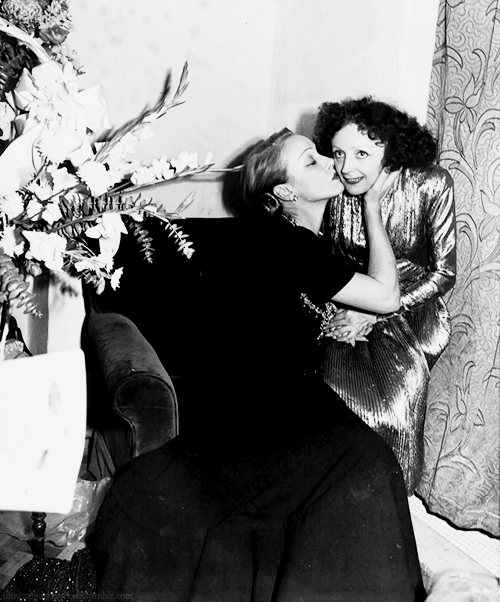suicideblonde:  Marlene Dietrich and Edith Piaf backstage after a concert in NYC, Oct 31st, 1947