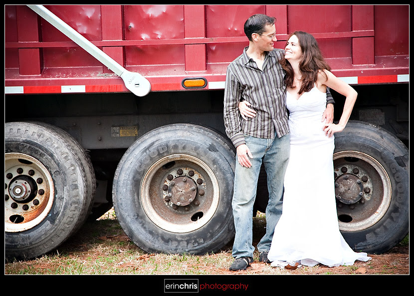 trash the dress picture next to a dump truck
