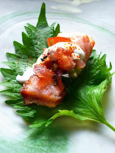crispy skin salmon shiso wrap
