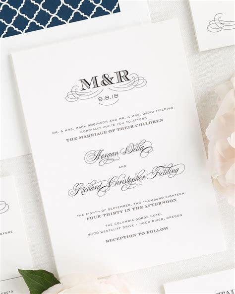 Antique Monogram Wedding Invitations   Wedding Invitations