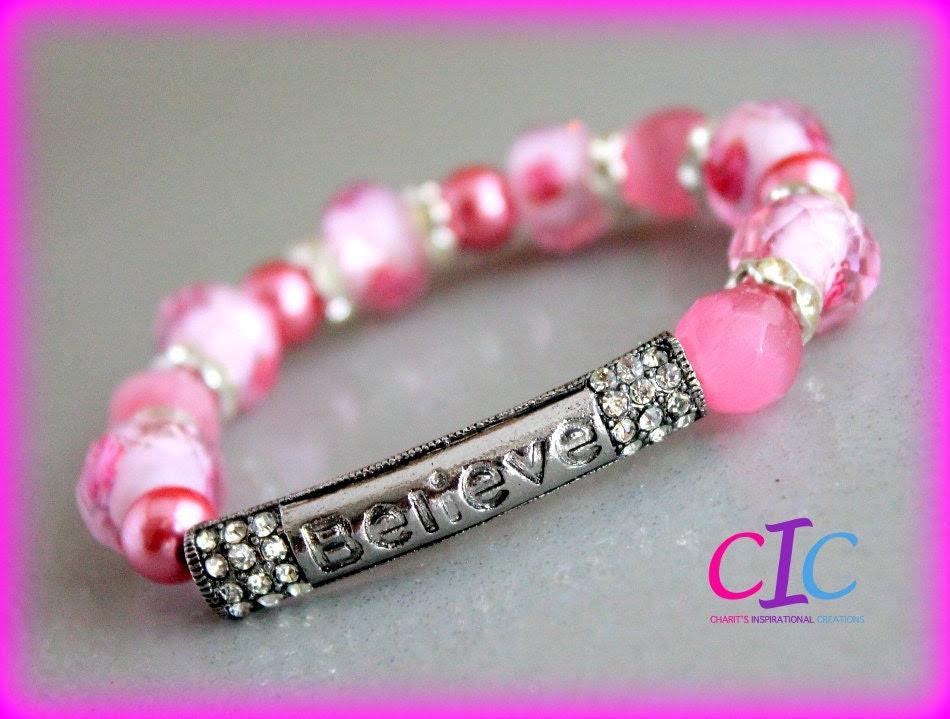 Pink Believe Rhinestone Affirmation bracelet