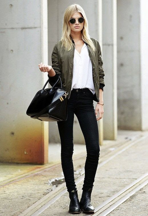 Le Fashion Blog Model Off Duty Style Megan Irwin Ray Ban Round Sunglasses Green Bomber Jacket Givenchy Bag Black Jeans Boots Via Carolines Mode 1