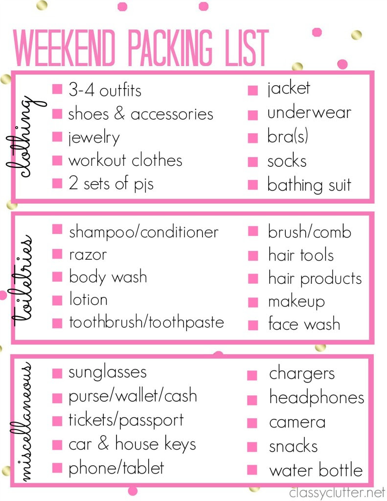 Printable Packing List for a weekend trip! - Classy Clutter