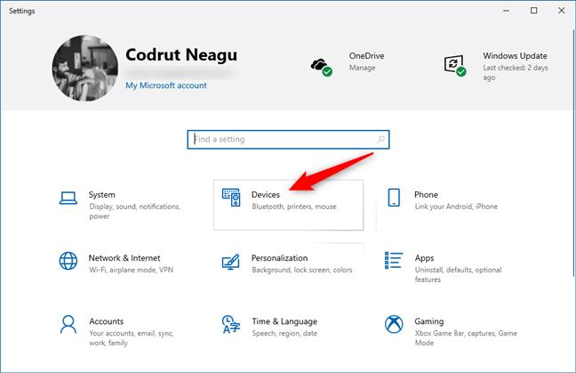 La entrada Dispositivos de la aplicación Configuración