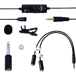 Movo LV1 Lavalier Lapel Clip-On Omnidirectional Condenser Microphone for Cameras