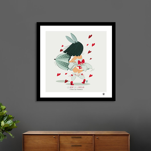 «Le vent de l'amour», Numbered Edition Fine Art Print by Snowy Day illustrations - From 20€ - Curioos
