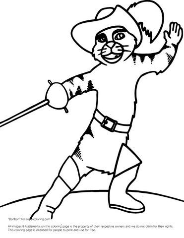Dibujo De Gato Con Botas Luchando Para Colorear Dibujos Para