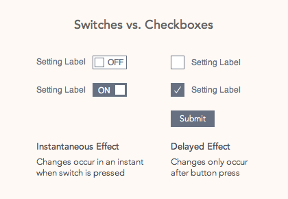When to Use a Switch or Checkbox - UX Movement