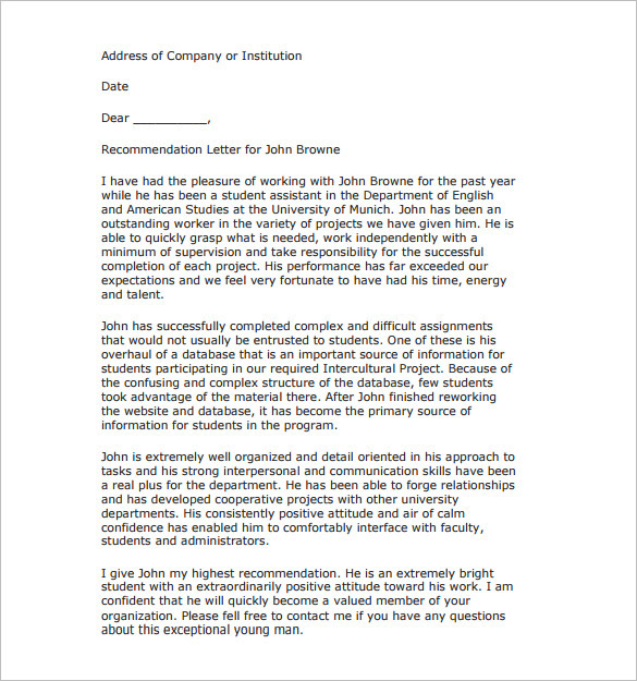 25+ Recommendation Letter Templates - Free Sample, Format ...