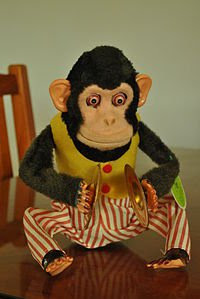Image of a musical jolly chimp manufactured the Japanese company, Daishin C.K. (Green tag on its left arm is an imitation) (May 18, 2012) Photograph by YuMaNuMa, via Wikipedia, used w/o permission.
