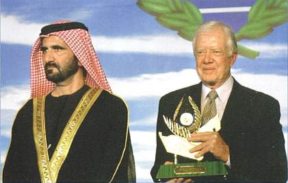Jimmy Carter receiving the Zayed Prize