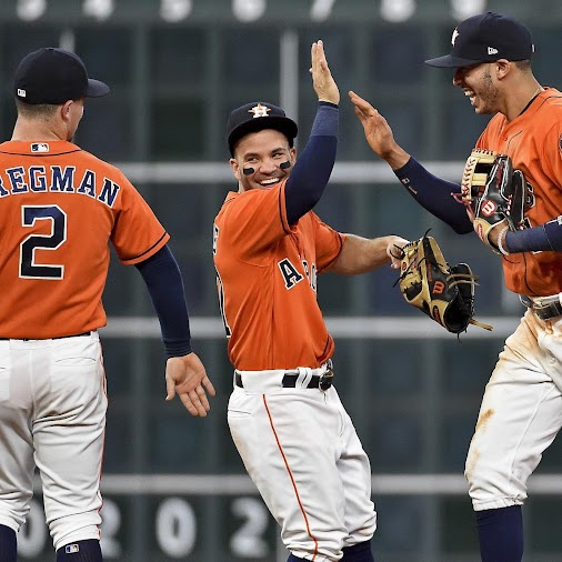 THE RISEN & THE FALLEN  Houston Astros' Jose Altuve, center, Carlos Correa, right, and Alex Bregman ...