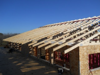 House Roof Trusses Finished - End View