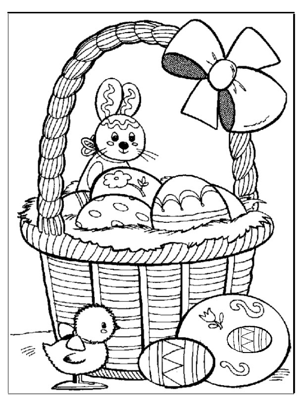 easter bunny egg coloring page for kids - Preschool Crafts