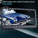 Insten Tribal Circles License Plate Frame with Jumbo Crystals, Black