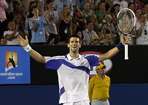 English: Novak Djokovic celebrating his 2011 A...