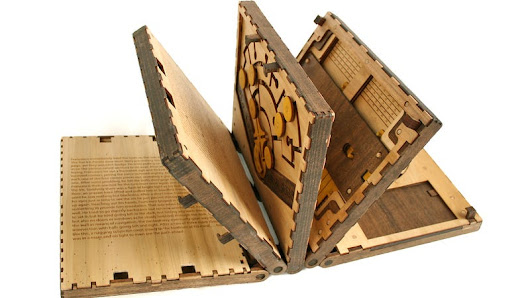 You Must Solve a Puzzle to Turn Every Page in This Beautiful Wooden Book