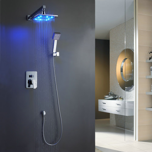 Wall-Mounted LED Shower Tap with 8 inch Shower Head + Hand Shower TSF006 [TSF006] - £0.00 :