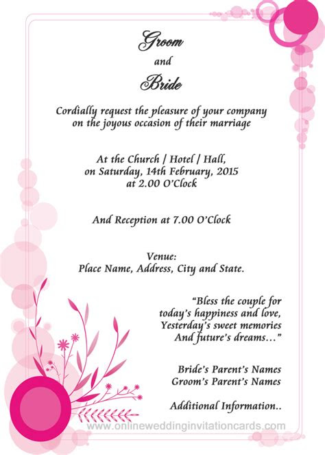 wedding invitation sample examples  wedding