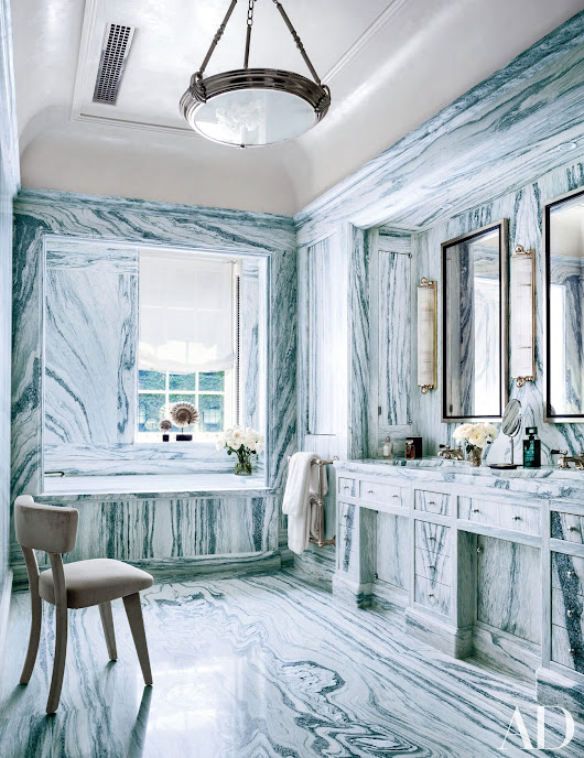22 Baths Clad in Graphic Marble | Architectural Digest