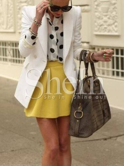 White Long Sleeve Lapel With Button Blazer pictures