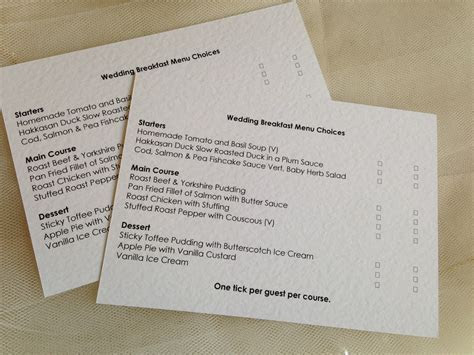 Menu RSVP Cards and Envelopes   Wedding Stationery