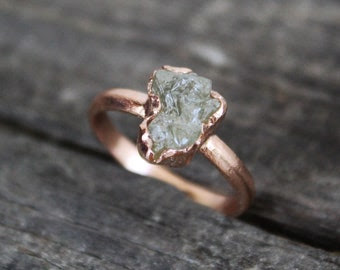 Rough Cut Diamond Ring Etsy