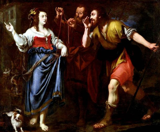Painting depicting Rahab of Jericho and the scarlet thread