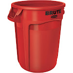 Rubbermaid Brute - Waste basket - round - 32 gal - handles - linear low-density polyethylene (LLDPE) - red