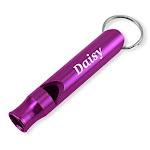 Dimension 9 Laser Engraved Anodized Daisy Metal Safetysurvival Whistle With Key Chain