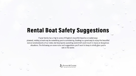 Rental Boat Safety Suggestions