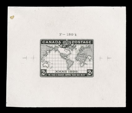 1898 2c Imperial Penny Postage, die proof of the accepted black engraved die F-139 12, printed directly on thin card showing virtually the entire die sinkage, measuring 70x60mm, the die number is above the design and the registration marks are f