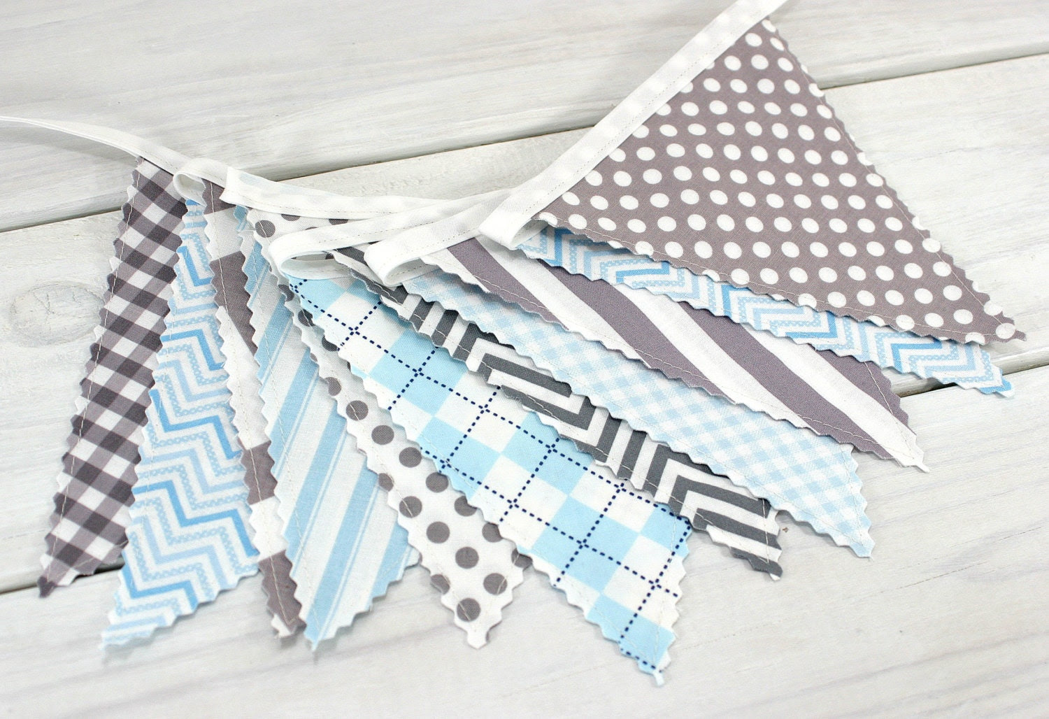 Bunting Fabric Banner, Fabric Flags, Boy Nursery Decor, Birthday Decoration - Baby Blue, Gray, Grey, Chevron, Dots, Argyle - Ready to Ship - thespottedbarn