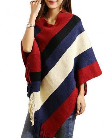 Women Contrast Color Fringed Irregular Pullover Loose Cape